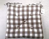 The Bettersleep Company Gingham Check Kitchen Garden Dining Chair Cotton Twill Seat Cushion Pad (2 pack) Gingham Natural