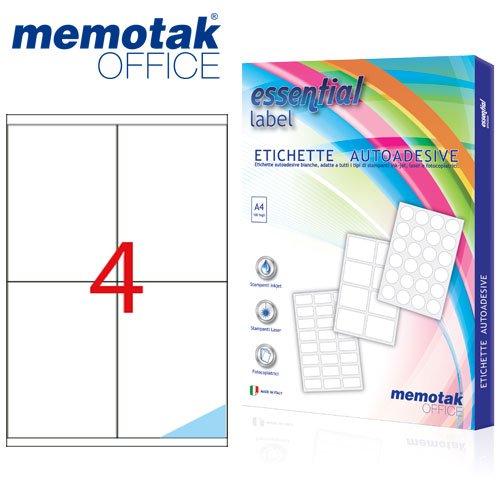 Packung mit 100Blatt A4Etiketten Aufkleber memotak Format in mm 105x 148400Etiketten für Behälter