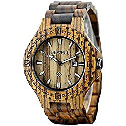 Bewell Holz-Armbanduhr Quarzuhr Herren-Uhr Sandelholz-Uhr für Männer mit Kalenderanzeige, Zebraholz-Armbanduhr