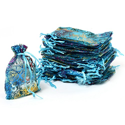 LQZ(TM) 100 stück Organzabeutel Schmucksäckchen Geschenktüten Säckchen mit Zugband, glitter regenbogen 9x12 cm