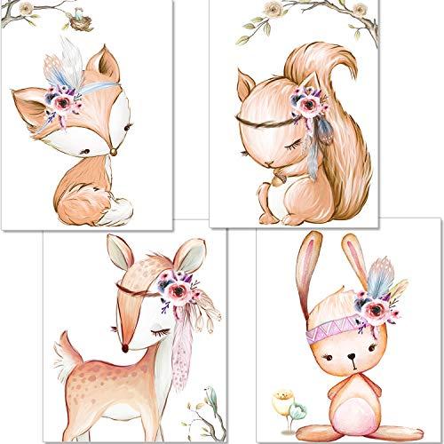 artpin® 4er Set Poster Kinderzimmer - A4 Bilder Babyzimmer - Deko Mädchen (P42) -