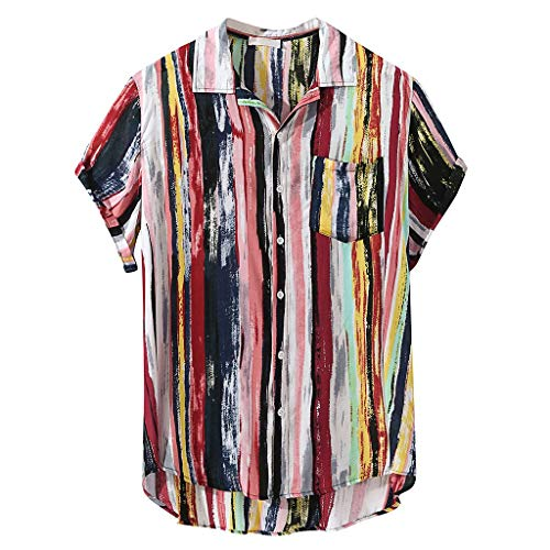 Bfmyxgs Herren Sommermode Multi-Color vertikal gestreiften Revers Pocket Shirt Vacation Style -