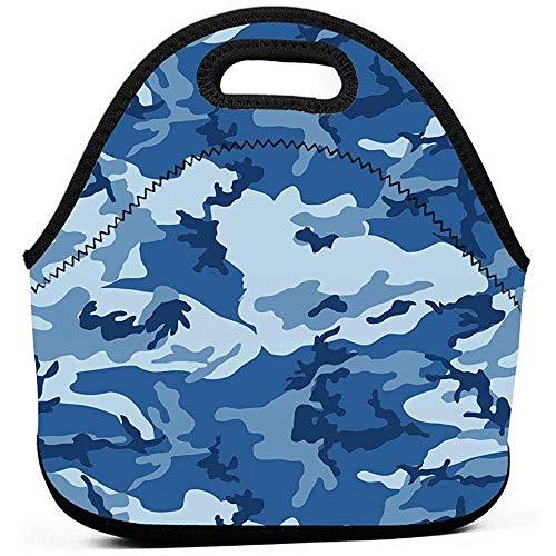 Mittagessen Tasche Sea Blue Army Camouflage Print Cooler Wiederverwendbare Neopren Bento Pouch Warm Isoliert Weiche Tragbare Lunch Tote Waschbar Langlebig Wasserdicht Für Frauen Männer Kinder -