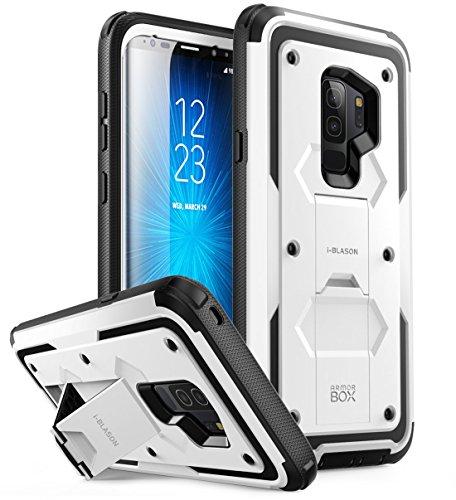 i-Blason Samsung Galaxy S9 Plus Hülle, [Armorbox] Handyhülle Bumper Case Stoßdämpfung Schutzhülle Heavy Duty Cover mit Ständer OHNE Schutzfolie für Samsung Galaxy S9 + Plus 2018, Weiß