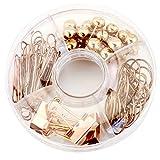 SODIAL 65PCS pinces a papier decoratives et l'ensemble,Pointes multi-types de punaise-pince de carte Clip de longue queue Clip de trombone Clip pour l'ecole(or rose)