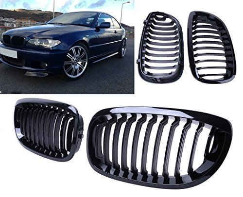 Jade Onlines Gloss Black Front Upper Kidney Grille Grilles Grill Hood Nose for BMW E46 2Dr Coupe 2004-2006 by Jade Onlines