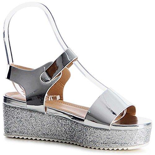 Damen Plateau Sandalen Sandaletten 1171 Silber