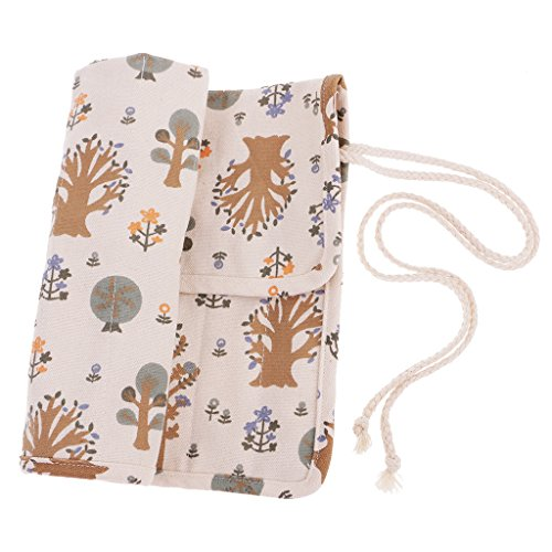 Prettyia 20 Slots Artist Watercolor Oil Painting Brush Roll Up Bag Canvas Pouch Box
