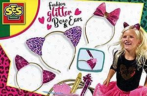 SES Creative Fashion Lazo y Orejas de Brillantina - Kits de joyería para niños (Cinta, 5 año(s), Rosa, Púrpura, Blanco, Niño, Chica, Países Bajos)