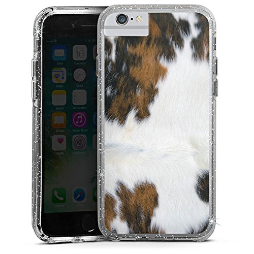 Apple iPhone X Bumper Hülle Bumper Case Glitzer Hülle Kuh Fell Kuh Look Bumper Case Glitzer silber