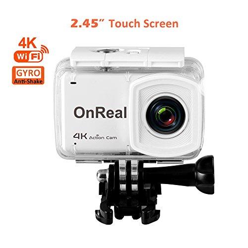 """OnReal Action Kamera 4K WiFi Wasserdichte Sport Cams mit 2,45\"""" Touchscreen 16MP 170 Grad Weitwinkel Unterstützt Burst Mode Zeitraffer Anti Shake GYRO Sport Camera mit CXY-B1 3.7V 1000mAh Batterie"""
