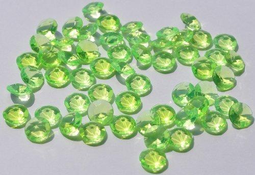 SiDeSo® Dekosteine grün 12mm Diamanten 100 Stück Acryl Tischdeko Hochzeit