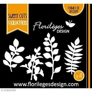Florilèges Design FDD11515 Outil de Découpe pour Scarpbooking Quatre Feuillages Noir 11,5 x 12,5 x 0,2 cm