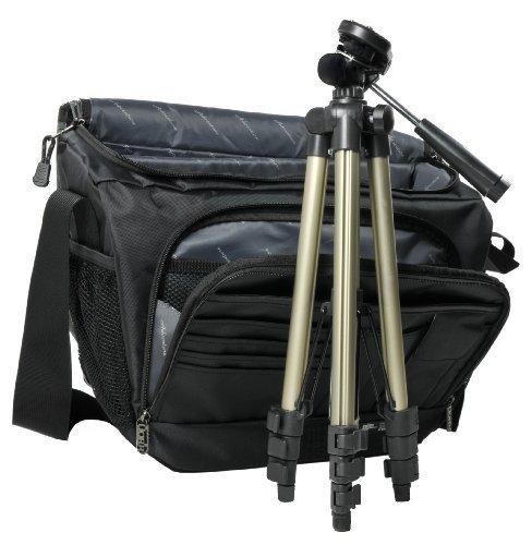 Kamera Bag Foto Tasche MIAMI XL black-grey Tasche inkl. ultraleichtem Reise Stativ mit Tasche