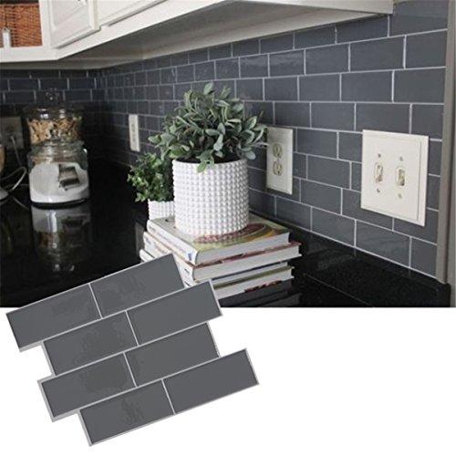 Queenbox® Grau Ziegel U-Bahn Fliese schälen und Stick Selbstklebende Wand Aufkleber Aufkleber DIY Küche Badezimmer Home Decor Vinyl 3D