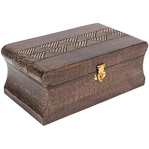 Joyero de madera grande caja de baratija organizador recuerdo caja de almacenamiento handcrafted accesorio de mesa de