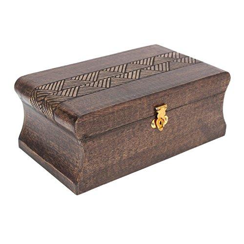 Store Indya Holz Jewelry Box Andenken Lagerung Organizer Nussbaum Antik Waschen, 22,9cm L x 12,7cm W x 10,2cm H Womens Nussbaum