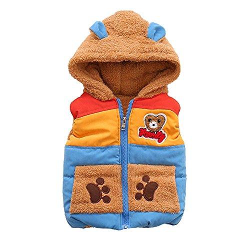 Hankyky Baby Mädchen Weste Kunstfell Winter Ohne Arm Gilet Bodywarmer mit Kapuze Kurz(1-6 Jahre) (M(1-2 Jahre), Arktischer SAMT Weste-B)