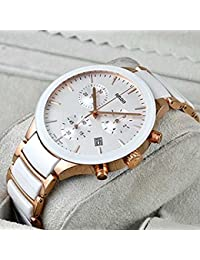 RADO High Quality Fashionable Ceramic Watch, Stainless Steel Day And Date Gold+White Strap Color Dial Analog Men's...