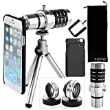 YOPO Camera Lens Kit for iPhone 6 6s plus – 12X Telephoto Lens, 180°Fisheye Lens, 0.65X Wide Angle Lens, 10X Macro Lens for iPhone 6 6s plus