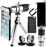 YOPO iPhone 6/6 Plus/5S/5 Camera Lens Kit Including 12x Telephone Lens Fish Eye Lens 2 in 1 Macro Lens and Wide Angle Lens with Attachments(Silvery), [Importado de UK]