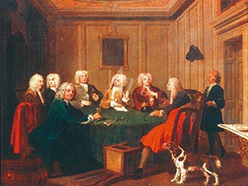 Roter Stuhl Galerie (Artland Poster oder Leinwand-Bild fertig aufgespannt auf Keilrahmen mit Motiv William Hogarth Gentlemen-Club, 1730 Menschen Gruppen & Familien Malerei Rot C4JH)