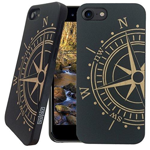 Holz iPhone Hülle-iPhone 8-wdpkr Holz-Einzigartiges Hohe Kontrast Schwarz Ahorn Holz Bumper Zubehör für Apple iPhone 8, Kompass