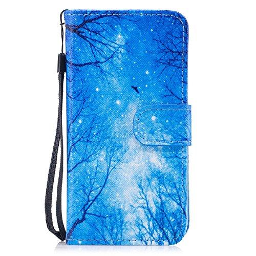 inShang Custodia per iPhone X 5.8 inch con design integrato Portafoglio, iPhoneX 5.8inch case cover con funzione di supporto. Blue woods