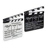 2x Filmklappe Holz, Regieklappe, Clapperboard, Szenenklappe, zum Beschriften, Hollywood Deko, 26 x 30 cm, schwarz & weiß