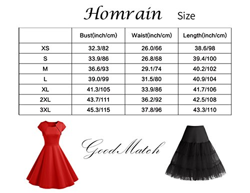 HomRain Damen 50er Vintage Retro Kleid Party Langarm Rockabilly Cocktail Abendkleider Black-1 XS - 6