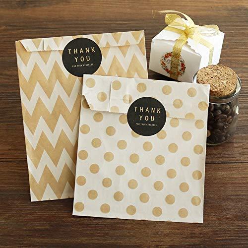 SMHILY 36pcs Kraftpapiersäcke Chevron Striped Dots Papier Craft Bag Cookie Pralinenschachtel Parteibevorzugung Süßigkeiten Geschenkverpackung Taschen Hochzeit Supply
