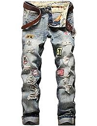 Guiran Vaqueros Para Hombre Pantalones Slim Fit Ver Destruido Desgarrar Agujeros Pantalones Zarco 34 QyFJVmo