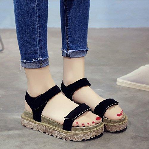 RUGAI-UE Donne sandali estivi fondo spesso scarpe Roma Black