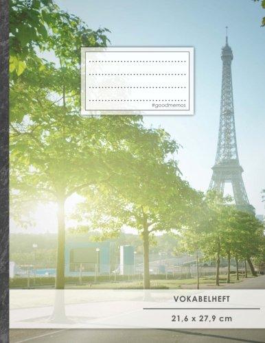 """VOKABELHEFT DIN A4 • 50+ Seiten, Soft Cover, Register, 2 Spalten, Erfolgs-Tacker, """"Französisch"""" • Original #GoodMemos Schulheft • Sprachen und Vokabeln leicht lernen, Lineatur 53"""