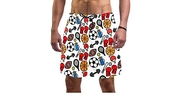 LORVIES Mens Sailing Icons Beach Board Shorts Quick Dry Swim Trunk