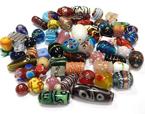 n Posten Glas Perlen Beads Silberfolie Lampwork Rund Kugel Bunt Perlenset Bastelset Für Schmuck zur Schmuckherstellung von Halsketten Armband DIY Basteln Schmuck Design (1000) ()