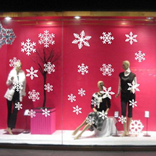 PLYY Christmas Ornament Schneeflocke Fenster Aufkleber Weihnachten Aufkleber Schneeflocke elektrostatische Aufkleber Fensterglas Aufkleber Rot Weiße Schneeflocken, White (Schneeflocke Fenster Aufkleber)