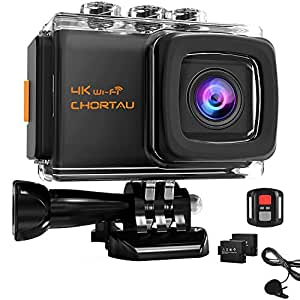 【2019 Nuova Versione】CHORTAU Action Cam 4K 20M WiFi Sensore Sony impermeabile fino a 30M, Schermo LCD 2 pollici Wild Angle 170°,Dotata di Custodia Impermeabile IP68,2 Batterie Ricaricabili,Telecomando