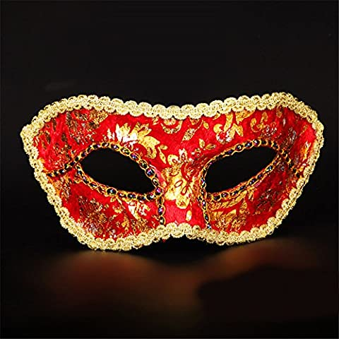 Halloween Mask Make-Up Party Performance Show Painted Beauty Half Face Masques,Rouge