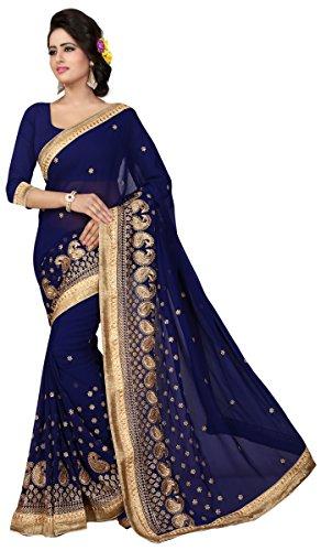 Blaue Saree (Indische Bollywood Saree Golden Paisley Grenze Ethnische Partei Entwerferkleid Sari)