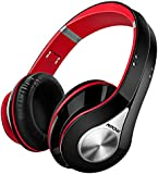 Bluetooth Headphones Wireless Mpow Wireless Headphones Over Ear Soft Earmuffs Foldable Headphones Built-in Microphone, Up to 20 Hrs Playtime Wireless and Wired Mode for Mobile Phones TV PC Laptop, Black & Red