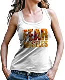 Stylotex Damen Tank Top Fear Los Angeles Sport T-Shirt Fitness Ladies, Farbe:Weiss;Größe:L