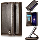 D-Kandy Motorola Moto G4 Plus +, Elegant Series Leather Flip Wallet Case Stand with Card Holder, Magnetic Closure Cover for Motorola Moto G4 Plus + - Coffee Brown