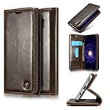 Lenovo P2, Elegant Series Leather Flip Wallet Case Stand with Card Holder, Official pu with Magnetic Closure Folio Book Cover for Lenovo P2 -Coffee Brown