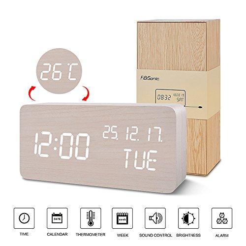 FIBISONIC LED Holz Wecker Modern Tischuhr Klein Standuhr Datum/Temperatur/Wochentag Anzeige Digital Wecker