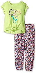 Kids Headquarters Girls Citrus Single Dye Jersey Top and Printed Challis, Multi, 3T