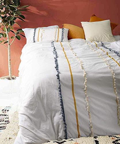Flber Outlet Bettbezug mit Quasten, King-Size-Boho-Tischdecke, strukturierte Tagesdecke, 220 x 230 cm, Weiß