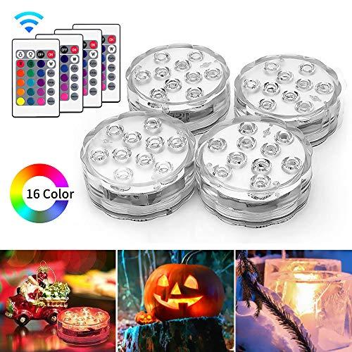 AODOOR Unterwasser Licht, RGB Multi Farbwechsel Wasserdichte LED Leuchten für Vase Base Party,Weihnachten,Schwimmbad, Halloween, Weihnachten - 4 Stück (Akzent-bühne-licht)