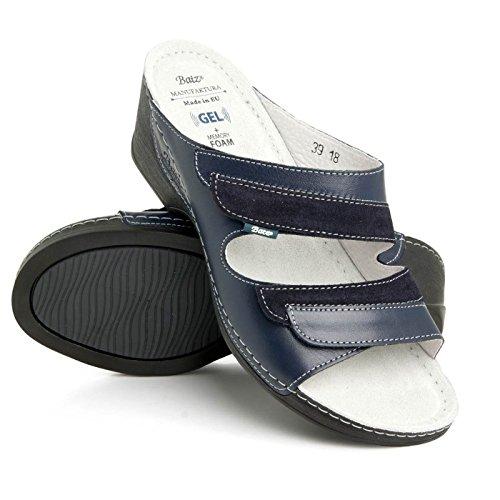 mariann Hochwertigem Komfortschuhe Lederschuhe Mix Sandalette Batz Damen Pantolette Blau zTqAwqdP