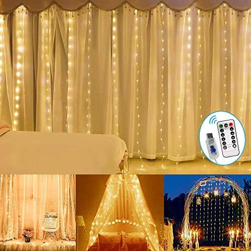 Luces de hadas con cortina de 300LED